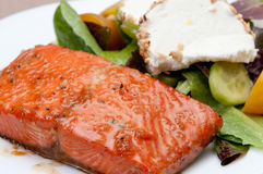 Salmon with goat cheese and beet salad Royalty Free Stock Images