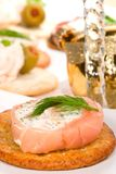 Salmon and goat cheese roll canape Royalty Free Stock Photography