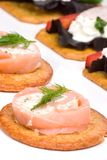 Salmon and goat cheese roll canape Royalty Free Stock Images