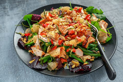 Salmon, green bean and pink grapefruit salad with balsamic vinegar drizzle and pine nuts Stock Images