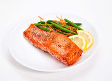 Salmon with Green beans Royalty Free Stock Photography