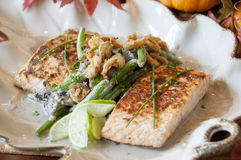 Salmon and green beans Stock Photography