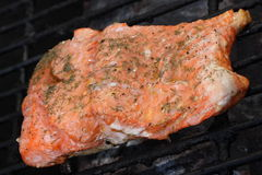Salmon on Grill, 2 Stock Images