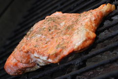 Salmon on Grill, 3 Stock Image