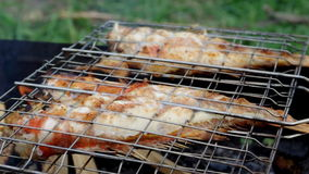 Salmon on the grill. Summer barbecue concept. stock video footage