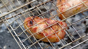 Salmon on the grill. Summer barbecue concept. stock footage