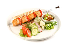 Salmon grill and vegetable isolated on white background, barbecue . Royalty Free Stock Photography