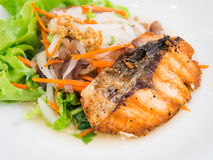 Salmon grilled. And vermicelli salad stock photo