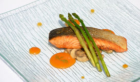 Salmon grilled with asparagus Stock Image