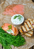 Salmon on a grilled bread. With yogurt cucumber salad on wooden background royalty free stock images
