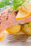 Salmon grilled with dill and boiled Stock Photography