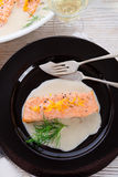 Salmon grilled with dill and boiled Royalty Free Stock Photography