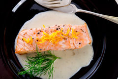 Salmon grilled with dill and boiled Stock Photos