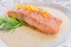 Salmon grilled with dill Royalty Free Stock Photography
