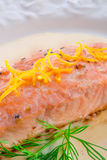 Salmon grilled with dill Stock Photography