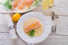 Salmon grilled with dill Stock Photo