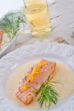 Salmon grilled with dill Royalty Free Stock Images