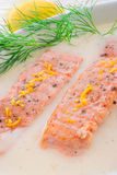 Salmon grilled with dill Stock Photos