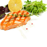 Salmon - Grilled Steak with rosemary Royalty Free Stock Photos