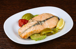 Salmon with grilled vegetables Stock Photos