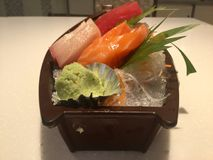Salmon ,Hamachi and Tuna Sashimi stock photography