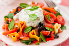 Salmon and Heart Shaped Pasta Salad with Creamy Dressing Stock Image