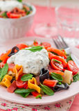Salmon and Heart Shaped Pasta Salad with Creamy Dressing Royalty Free Stock Photo