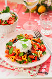 Salmon and Heart Shaped Pasta Salad with Creamy Dressing Stock Photos