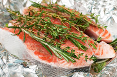 Salmon with herbs Royalty Free Stock Image
