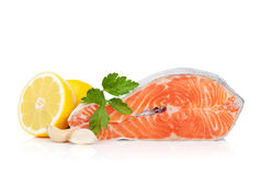 Salmon with herbs and lemon Royalty Free Stock Image