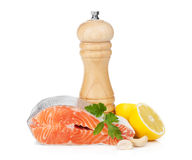 Salmon with herbs, pepper shaker and lemon Stock Images