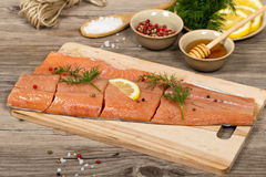 Salmon with honey marinade ready to cook Stock Images