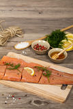 Salmon with honey marinade ready to cook Royalty Free Stock Photo