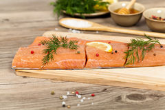 Salmon with honey marinade ready to cook Stock Photo