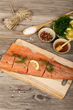Salmon with honey marinade ready to cook Stock Image