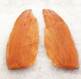 Salmon on ice. Fresh Salmon sliced on ice Royalty Free Stock Photography