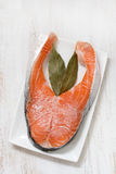 Salmon in ice on dish Royalty Free Stock Photos