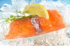 Salmon on ice with lemon Royalty Free Stock Photo