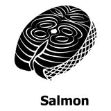 Salmon icon, simple black style. Salmon icon. Simple illustration of salmon vector icon for web Stock Photography