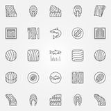 Salmon icons set. Vector trout or salmon fish steak symbols. Salmon icons set. Vector collection of a trout or salmon fish steak and fillet concept outline Royalty Free Stock Photos