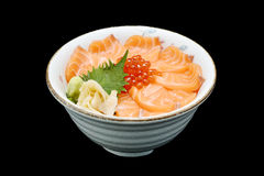 Salmon and ikura Chirashi sashimi of fresh raw Salmon and roe on rice of Japanese tradition food restaurant Royalty Free Stock Images