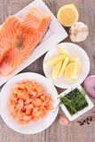 Salmon and ingredient Royalty Free Stock Photography