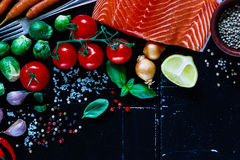 Salmon and ingredients Royalty Free Stock Photos