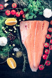 Salmon with ingredients Royalty Free Stock Photos