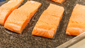Salmon inside super market Royalty Free Stock Photography