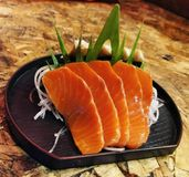 Salmon in restaurant royalty free stock photography
