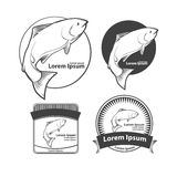 Salmon. Jumping salmon fish, for label, design elements ant templates, retro style Stock Photo