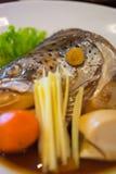 Salmon Kabutoni with soy sauce Royalty Free Stock Photo