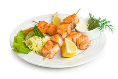 Salmon kebab Royalty Free Stock Photos