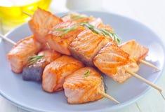 Salmon Kebab Lizenzfreie Stockfotografie